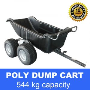 Poly Dump Cart Tray 544 kg 15 cu.ft 1200 lbs Tow Quad ATV Trailer 4 wheels