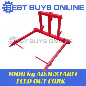 BALE SPEAR HAY SPIKE ADJUSTABLE FEED OUT FORK TRACTOR 3 POINT LINKAGE 1000KG