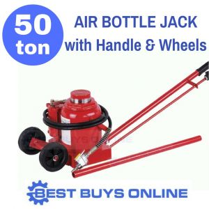 New Bottle Jack 50 Ton Air Hydraulic included Long Handle & Wheels