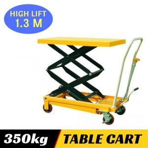 HYDRAULIC TABLE CART Double Scissor Lift 350 kg High Lighting Height 1.3m