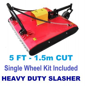 Tractor Slasher Heavy Duty 5FT with Wheel Kit, PTO Slip Clutch