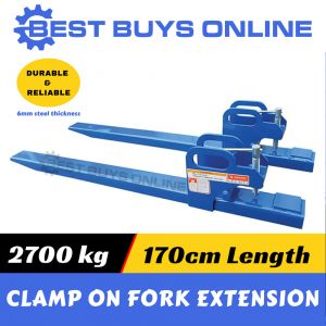 "FRONT END BUCKET LOADER CLAMP ON FORK EXTENSIONS 2700KG for Tractor Bobcart ""Best Buys on sale"""