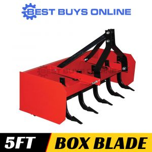 Box Blade Grader Scraper 5 ft with 5 Rippers for Tractor 3 Point Linkage