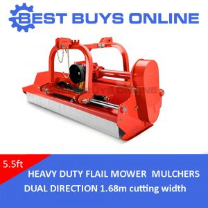 "5.5FT TRACTOR FLAIL MOWER 1.68M CUT DUAL DIRECTION HYDRAULIC OFFSET Bush Cutter ""Best Buys on sale"""