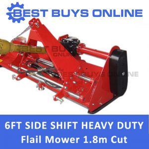 "6FT TRACTOR FLAIL MOWER HYDRAULIC OFFSET SIDE SHIFT 1.8M SLASHER-BEST BUYS ""Best Buys on sale"""