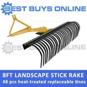 New 8 FT TRACTOR LANDSCAPE STICK RAKE (240 CM) 3 POINT LINKAGE