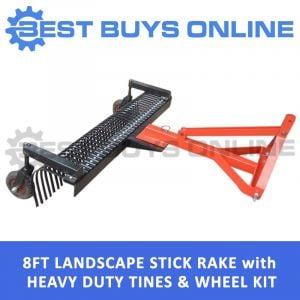 LANDSCAPE STICK RAKE 8 FT WITH LEVELING WHEEL KIT - 3 PL Tow Behind Tractor