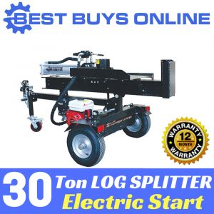 Log Splitter Hydraulic 30 Ton Electric Start with jockey wheel & work table