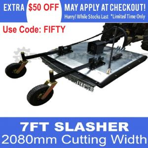 Galvanised Slasher 7 FT 2080 MM Cut Offsettable Heavy Duty 10 MM Skids Thickness suit Tractor 3 point linkage
