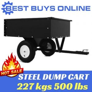 "Steel dump cart tipping trailer 227 kg tow behind atv, ride on mower ""Best Buys on sale"""