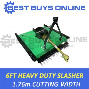 "6FT TRACTOR SLASHER HEAVY DUTY 85HP GEAR BOX 1.8M CUT 10mm SKIDS 5mm DECK ""Best Buys on sale"""