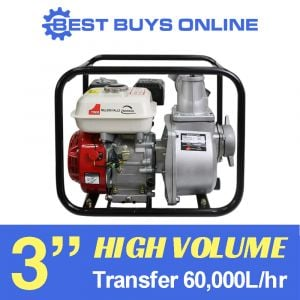 Water Transfer Pump 3 inch 6.5 HP Petrol High Pressure 60,000L/hr High Flow