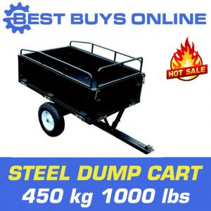 DUMP CART STEEL Garden Tipping Trailer 450kg 1000lbs TOW BEHIND ATV Quad 14 Cuft