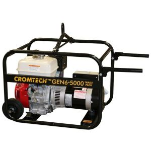 "6.0 kVA Cromtech Petrol Generator 9 HP Honda Engine ""Inc. Wheels, Handles, Lifting hook"""