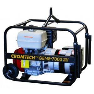 Cromtech Petrol Generator 8.5 kVA 13 HP Honda GX390 Engine Trade Pack with RCD, Wheels, Handle