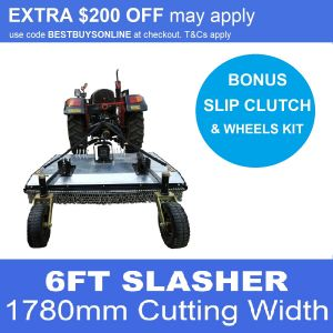 Galvanised Slasher suit Tractor 3 Point Linkage, with Dual Wheels Kit, PTO Safety Slip Clutch