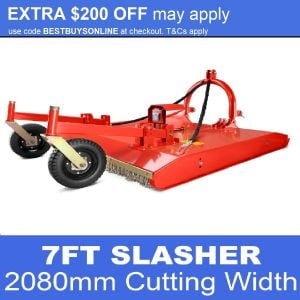 Tractor Slasher Heavy Duty 7 FT With Slip Clutch, Wheel Kit