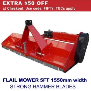 Flail Mower 5 FT 1550 MM Cut Garden Farm Mulcher with Hammer Blades