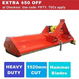 Flail Mower 5 FT  Heavy Duty Mulcher with Hammer Blades (1520mm Cut) suit Tractor PTO 3 Point Linkage