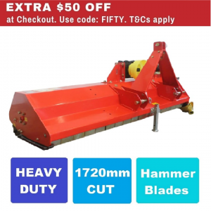 Flail Mower 5.5 FT Heavy Duty Mulcher 1720 mm Cut with Hammer Blades, suit Tractor PTO Driven