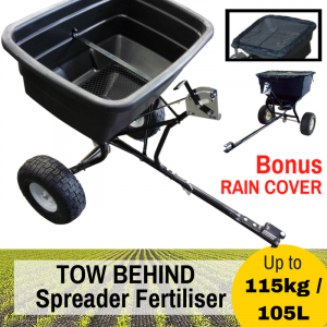 "FERTILISER SPREADER Grass Seed 115KG TOW BEHIND Broadcast BONUS Rain Cover ""Best Buys on sale"""
