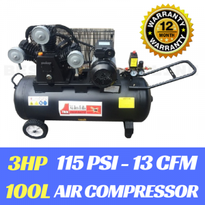 Air Compressor 3 HP Electric Motor Belt Drive 3 Cylinder 16 CFM 100 Litre Tank