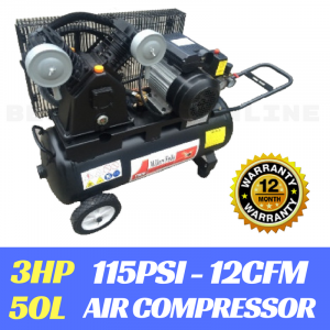AIR COMPRESSOR 3 HP Petrol Electric Motor Belt Drive 50 Litre Tank 2 Cylinder Pump