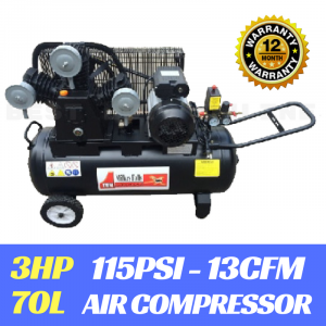 AIR COMPRESSOR 3HP Electric Motor Belt Drive 3 cylinder 70 LITRE 13 CFM 115 PSI