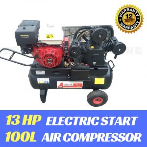 AIR COMPRESSOR 13HP Petrol Engine Electric Start 100 Litre Tank  28.27CFM Air Pump