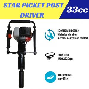 STAR PICKET POST DRIVER 2 stroke Petrol Powered 33cc Heavy Duty