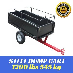 DUMP CART TOW BEHIND ATV RIDE ON MOWER 1200 LBS 545KG Steel Garden Tip Trailer Best Buys on sale