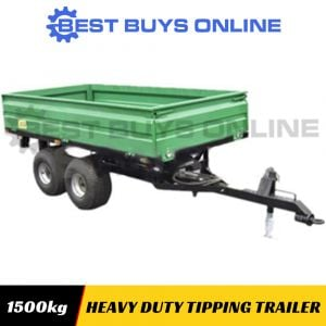 HYDRAULIC TIPPING TRAILER TIPPER Heavy Duty 1500kg High Quality Double Wheels