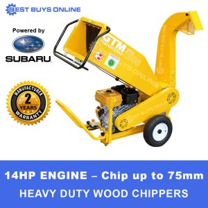 GTM Wood Chipper Petrol Powered by 14 HP Robin Subaru Engine chip up to 100mm greenwood GTS1310