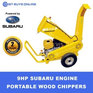 GTM Wood Chipper Petrol 9 HP Robin Subaru or Honda Engine GTS900S Chip Mulcher up to 80mm