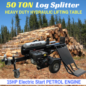 Black Diamond 50 ton log splitter hydraulic lifting table 15 hp electric start