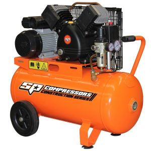 AIR COMPRESSOR PORTABLE 2.2HP 50L TANK BELT DRIVE Cast Iron SP13-50X FREE FITTED AIR HOSE