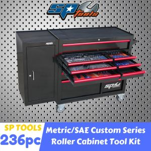 SP Tools 236pc Tool Set 11 Drawer Roller Cabinet Tool Kit Bonus 1 Side Cabinet with Handle SP50628
