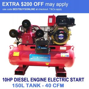 Diesel Air Compressor 10HP Electric Start 40.4CFM 150L Belt Drive Industrial Use