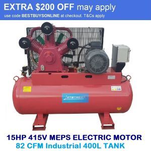 Air Compressor 82 CFM 15 HP Industrial 400L Tank, 3 Phase MEPS 415V Electric TA120 Pump Fusheng Style