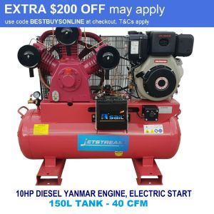 Diesel Air Compressor 10 HP Electric Start Yanmar Engine Industrial 40 CFM Large 150L Tank