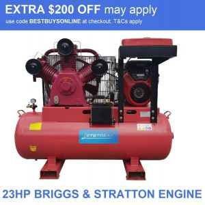 Petrol Air Compressor Briggs & Stratton 23 HP Electric Start Powered 82 CFM Industrial 300 L tank