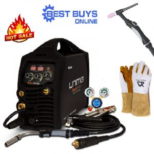 Inverter Welder Combo Kit Unimig Razorweld 205 Smart Set Mig Tig Mma with Tig Torch, Welding Gloves KUMJRRW205SSMIG