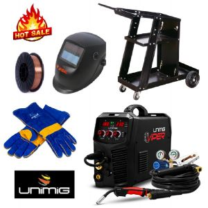 Unimig Inverter Welder Viper 185 Mig Tig Stick welding KUMJRVM185 with Welding Helmet, Trolley, Wire & Gloves