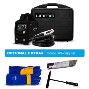 Unimig Stick Tig Welder Razor Arc 140amp KUMJRRW140CA with Welding Gloves, Welding Electrodes and Chipping Hammer
