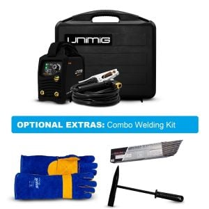 Stick Tig Welder Unimig Razor Arc 180 Amp DC Portable KUMJRRW180CA with Welding Gloves, Electrodes and Chipping Hammer