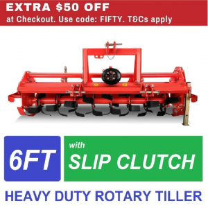 6ft Rotary Hoe Tiller Heavy Duty with Slip Clutch, suit Tractor 3PL