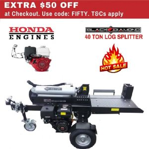 Log Splitter Black Diamond 40 ton Honda GX390 Petrol Engine - Best Buys Online