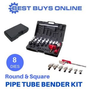 Manual Pipe Tube Bender Metal Steel Round & Square 8 Dies Handheld Bending Kit