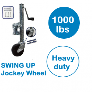 "Jockey Wheel 10"" Travel Size Solid Tyre Swing Up 1000 lbs caravan boat, trailer"