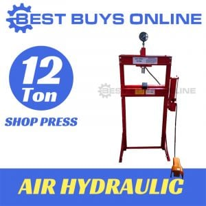 12 TON SHOP PRESS AIR HYDRAULIC Sliding head Right-Left with Gauge & Foot Pedal